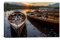 Derwent water rowing boats, Canvas Print