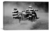 Sidecar scramble racing B&W version, Canvas Print