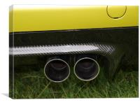 Gold BMW exhaust pipes, Canvas Print