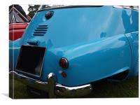 Blue Isetta bubble car rear end and light, Canvas Print