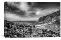 Cot Valley Porth Nanven 3 Black and White, Canvas Print