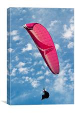 Red Canopy Paraglider, Canvas Print