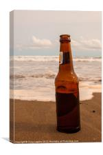 beer bottle on tropical beach, Canvas Print