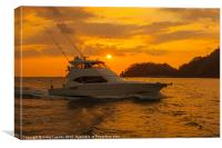 sportfishing boat returns at the end of the day, Canvas Print