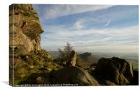 Free climbing in the Roaches, Canvas Print