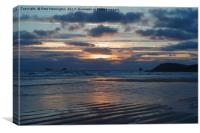 Sunset over Constantine Bay in Cornwall, Canvas Print
