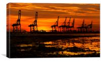 Sunset At The Port Of  Felixstowe, Canvas Print
