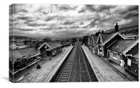 Settle Railway Station in Mono, Canvas Print