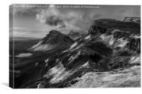 Quiraing Sunrise In Monochrome, Canvas Print