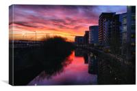 City Sunset Reflections, Canvas Print