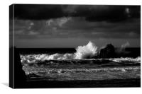 Crashing Waves at Trevone Bay in Black and White, Canvas Print