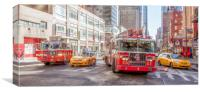 Fire Engines & Yellow Cabs New York, Canvas Print