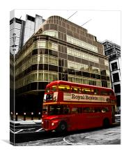 Express Building and London Bus, Canvas Print