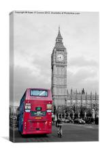 Red London Bus at Westminster, Canvas Print
