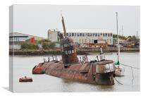 Russian Submarine in River Medway, Canvas Print