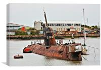 Russian Submarine in River Medway HDR, Canvas Print