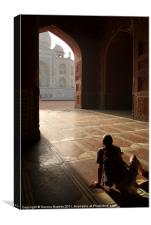 Tourist Photographing Taj Mahal, Agra, India, Canvas Print