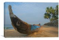 Fishing Boat and Palms on Black Beach Varkala, Ker, Canvas Print