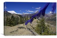 Blue Prayer Flags and Pine Trees Manang, Canvas Print