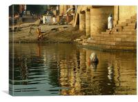 Bathing in the Ganges, Canvas Print