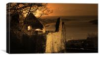 View from the Ruins of Dundrum Castle, Canvas Print