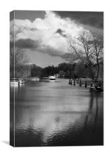 View up Thames from Streatley Bridge , Canvas Print