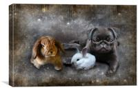 Penelope, Prudance and the Pug, Canvas Print