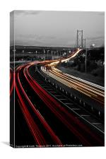 Trail Lights to Forth Road Bridge, Canvas Print