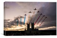 Red Arrows over Lincoln Cathedral, Canvas Print