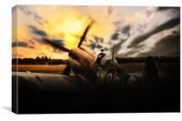 Spitfire Sunset Silhouette, Canvas Print