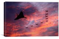 Vulcan XH558 and Red Arrows, Canvas Print