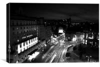 Leeds by Night Black and White, Canvas Print