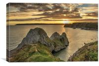Three Cliffs Sunset, Canvas Print