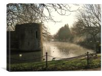 Bishops palace on Misty waters., Canvas Print