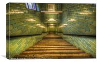 Green stairs, Canvas Print