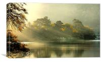 Sunrise through the mist ,, Canvas Print