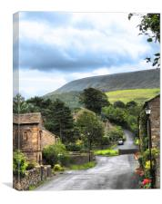 Pendle Hill at Downham Lancashire Uk, Canvas Print