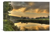 Sunrise Reflection in Durham River Wear, Canvas Print