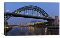 Newcastle Bridge and Quayside, Canvas Print