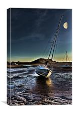 Alnmouth Yacht Skua by Moonlight, Canvas Print