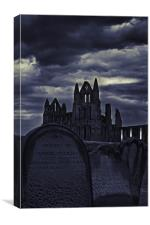 Whitby Abbey From The Grave, Canvas Print