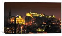 Edinburgh At Night, Canvas Print