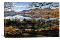 Derwentwater Bench Views, Canvas Print