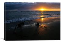 Sunset At Cleveleys, Canvas Print