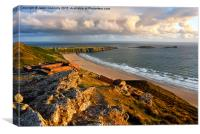 Rhossili Golden Hour, Canvas Print