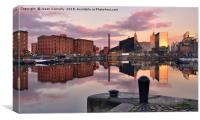 Salthouse Dock Reflections., Canvas Print