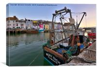 Weymouth Harbour Boats., Canvas Print