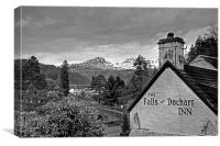 The view from the Falls of Dochart Inn - B&W, Canvas Print