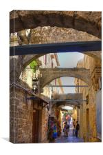 An alley in Rhodes Town, Canvas Print