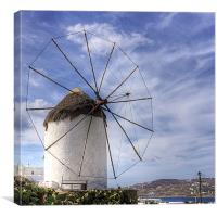 Thatched Windmill on Mykonos, Canvas Print